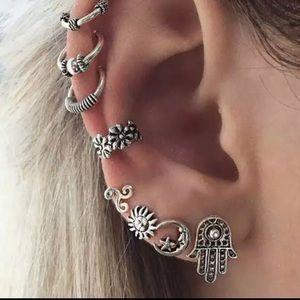 Silver Boho Moon Sun Hamsa Cuff Earrings Set of 8